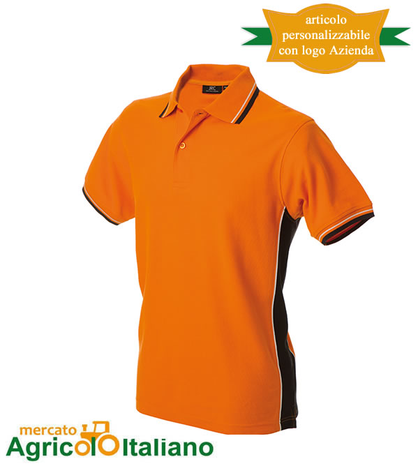 Polo manica corta Mod. Ankara. Colore orange/black