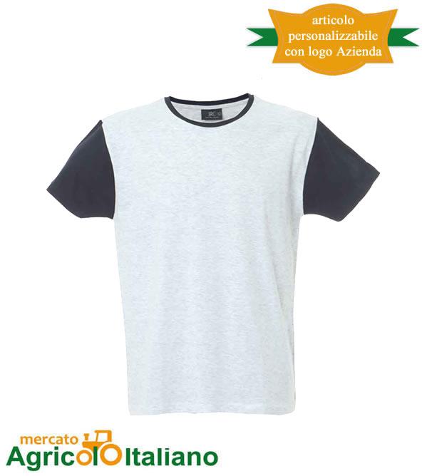 T-shirt Lisbona manica corta girocollo 100% cotone pettinato White/Navy