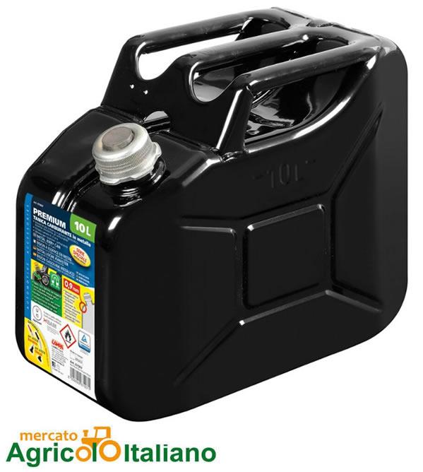 Premium, tanica carburante in metallo - 10 L - Nero Lampa