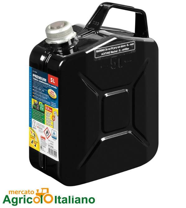 Premium, tanica carburante in metallo - 5 L - Nero Lampa