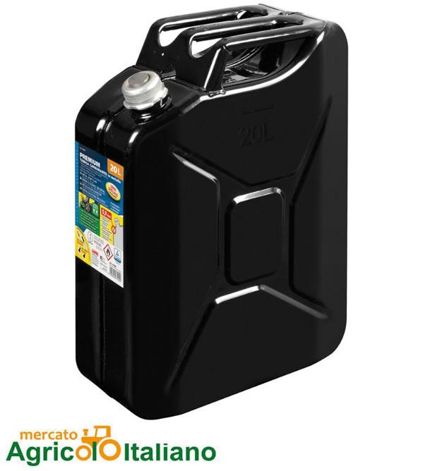 Premium, tanica carburante in metallo - 20 L - Nero Lampa