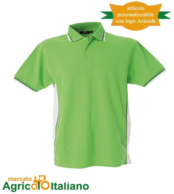 Polo manica corta Mod. Ankara. Colore green/white