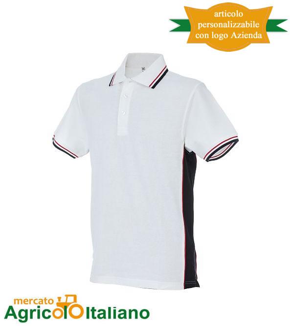 Polo manica corta Mod. Ankara. Colore white/navy