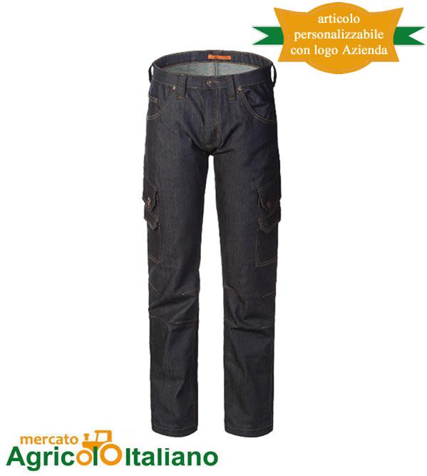 Pantalone Jeans da lavoro Mod. Cargo. Colore blu