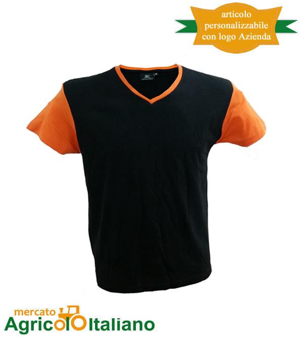 T-shirt Cadice manica corta collo a V 100% cotone pettinato - Black Orange