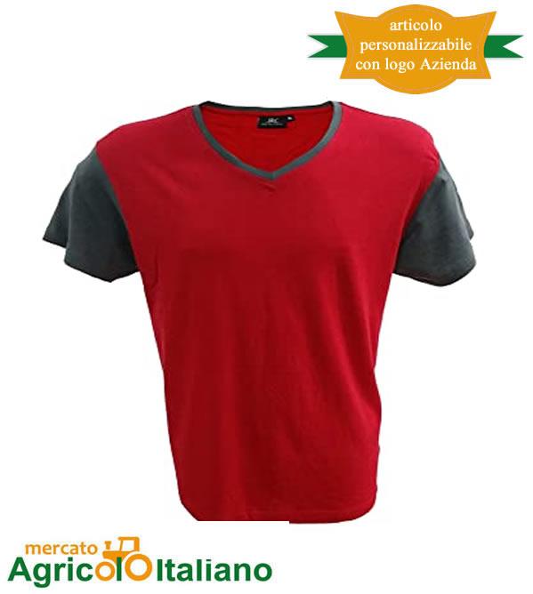 T-shirt Cadice manica corta collo a V 100% cotone pettinato - Red/Grey