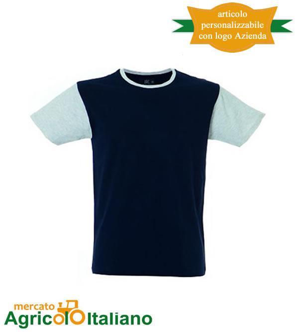 T-shirt Lisbona manica corta girocollo 100% cotone pettinato - Navy/Melange