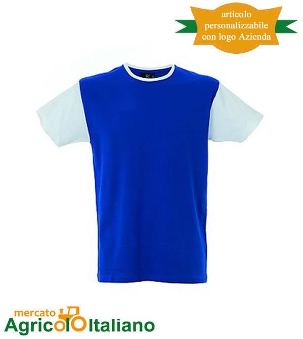 T-shirt Lisbona manica corta girocollo 100% cotone pettinato Royal/White