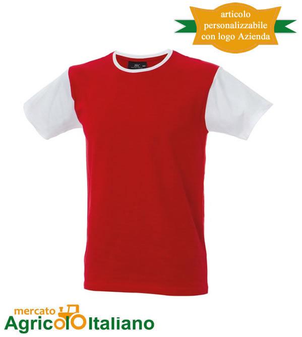 T-shirt Lisbona manica corta girocollo 100% cotone pettinato Red/White